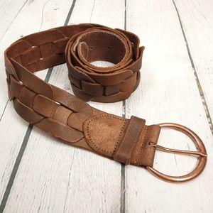 Hollister Brown Woven Leather Belt Medium